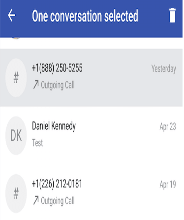 Delete messages on TextNow and its call logs